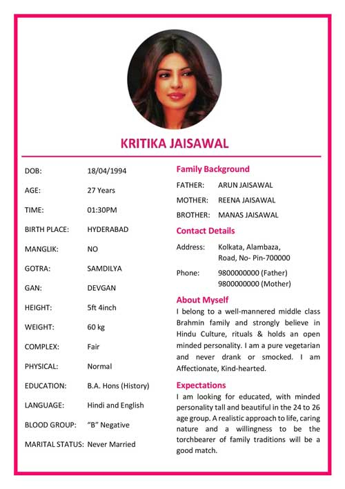 Color marriage biodata format for girl