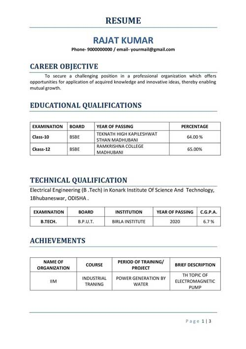 Biodata Format for Teacher, Professional and Engineer