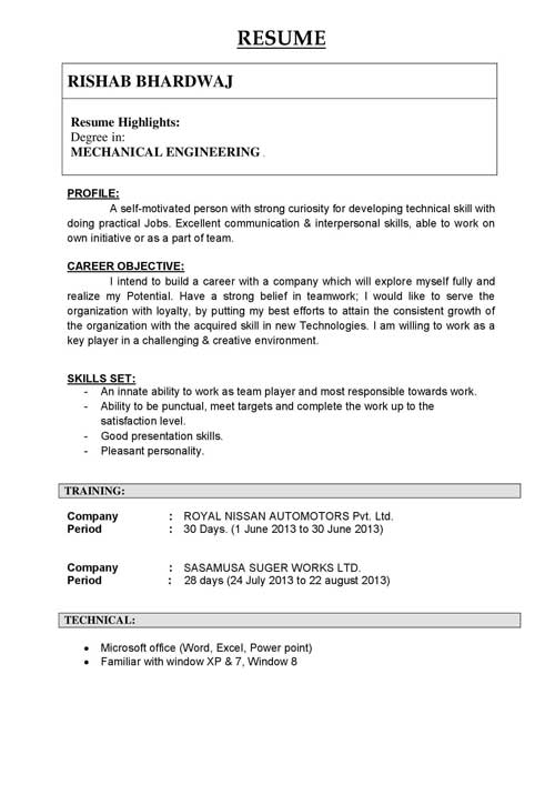 Biodata format for Engineering Student very Simple format