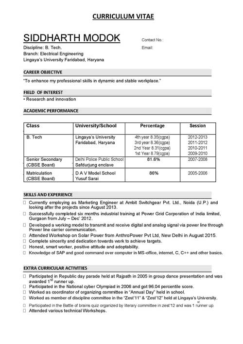 Biodata Format for Teacher, Professional and Engineers