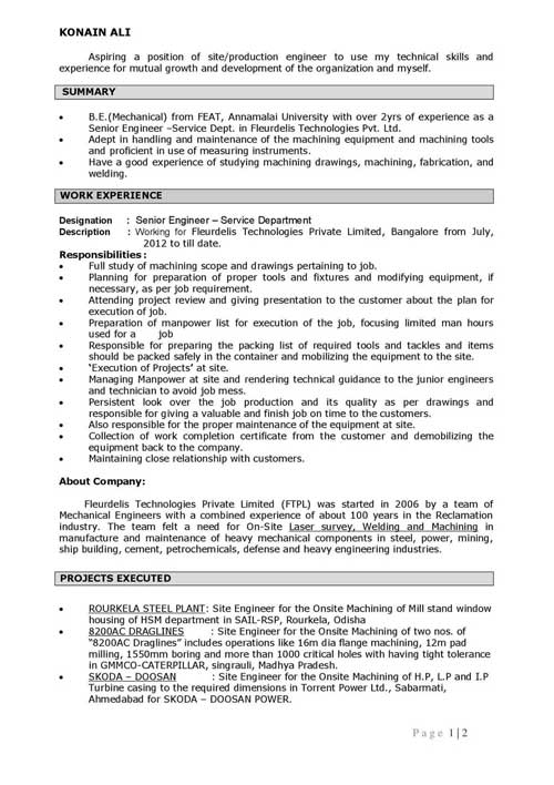 Resume format for Office Executive or manager level candidates